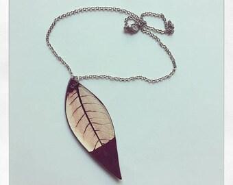 Large Leaf Necklace // Ceramic // Oxblood
