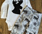 Baby Boy Deer Outfit, Deer Outfit, Hunter Outfit, Baby Boy Pant Set, Baby Boy Take Home Outfit, Baby Boy Hunting Outfit, Little Hunter