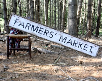 6ft Farmers Market Sign Large Wood Sign Rustic Wood Sign Farmhouse Sign Vintage Inspired Country Decor Framed Wood Sign