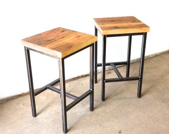 Extra Large Reclaimed Wood Bar Stools With Rebar Legs And Back