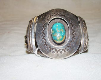 1-O Native American Sterling Turquoise Bracelet