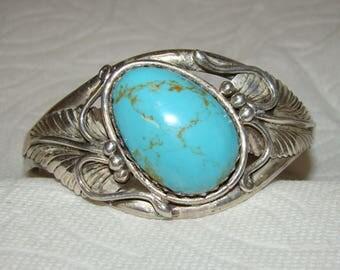 NA #2-R Native American Vintage Sterling & Turquoise Bracelet