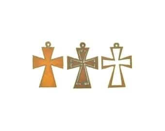 Maltese Cross Rusty Metal Pendant/Charm Assortment