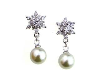 CZ & Pearl drop earrings, Pearl earrings, Cluster CZ earrings, Crystal earrings, Wedding earrings, Silver,Petite dangle earrings