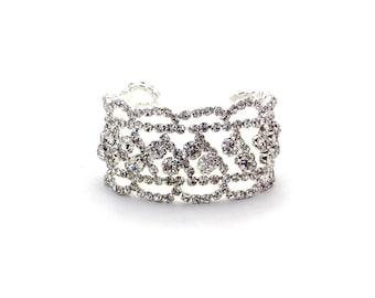 Gold Swarovski Cuff Bracelet, Rhinestone Bracelet,Crystal Bracelet, Wedding Bracelet
