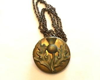 VINTAGE - THISTLE LOCKET Necklace - Brasstone 1990s