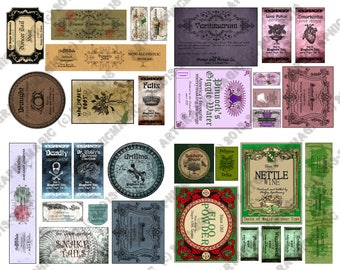 Printable Harry Potter Potion Labels - Big Set - Party Decoration - Hogwarts Birthday Favors - Wine Water pdf jpg digital instant download