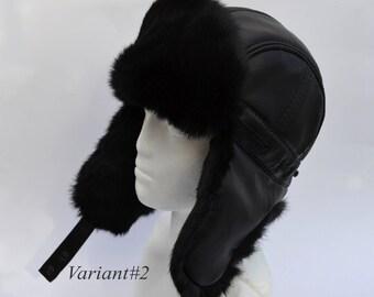 FAUX LEATHER Ear Flap Hat, Men real fur hat, Trapper Hat, Aviator Hat, Ushanka, Russian Hat, Ski Hat, Rabbit Fur, Fur Hat, Gift for Men