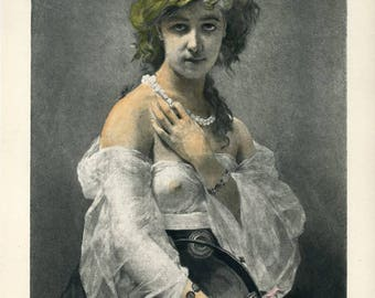Haydee, An 1881 Hand-colored Engraving from a Painting by Ch. Chaplin