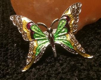 colourful enamel rhinestone butterfly silver tone brooch