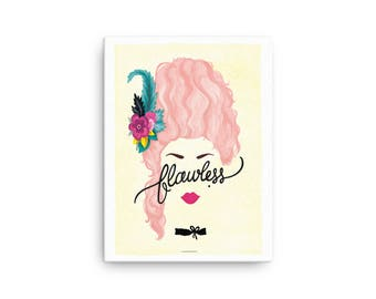 CANVAS Flawless Marie Antoinette Poster, Calligraphy Print, Minimalist Illustration, Music Poster, Typography Art Print, Queen B Gift for He