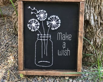 Make a Wish Wall Decor - Dandelion String Art - Dandelion Wall Art - Living Room Decor - Nursery Decor - String Art - Make a Wish - Decor
