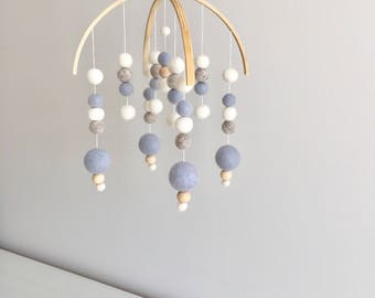 Baby Blue/Grey/White Double Arch Felt Ball Mobile
