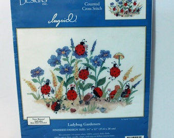 Candamar Designs counted cross stitch kit #51561 Ladybug Gardeners Sealed