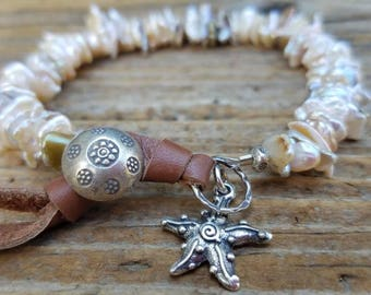 Keishi Pearl Bracelet and Sterling Silver, Cream Pearl and Leather Bracelet, June Birthstone, Sterling Silver Starfish, Cornflake Pearl