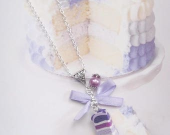 necklace rainbow cake pastel polymer clay