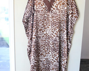 vintage bohemian safari  giraffe leopard tunic caftan dress