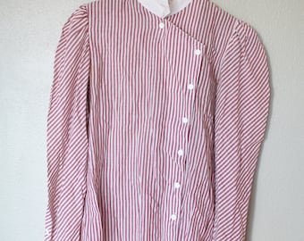 vintage maroon & white striped ruffle button up top