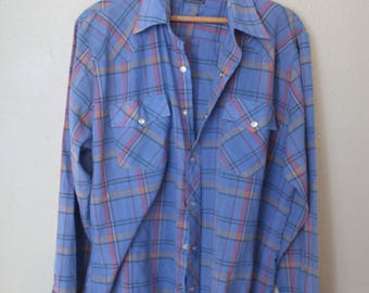 vintage 1970's western cut plaid blue pearl snap button up shirt
