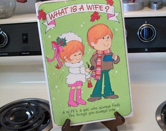 Wife Christmas card, Vintage Wife Christmas card, Merry Christmas wife, gift for wife