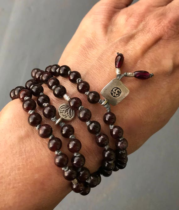 Garnet Mala Beads - Mala For Grounding and Protection - Root Chakra Necklace - Garnet Bracelet - January Birthstone - Spiritual Gift