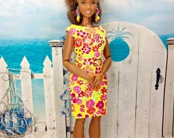 Curvy Barbie Doll Dress - Colorful Floral Dress with Removable Belt, Earrings, and Shoes for Curvy Barbie Doll