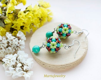 Beaded beads earrings, flower, floral, drop, turquoise green red, beadwoven, beadwork, boho chic, bohemian, everyday jewelry, gift for her