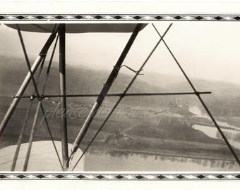 abstract airplane wing view ~ Vintage Snapshot Photo ~ Waco F biplane