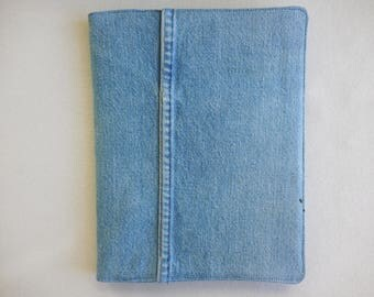 Journal Cover in denim over composition book, features leg seam, for journaling, drawing, poetry, notes, cover for notebook protection / ID