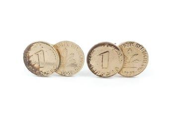 Vintage Coin Cuff Links, Gold Tone, Deutschland
