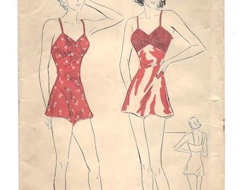 1930s Advance 1939, Bandeau Chemise, Lingerie, Unprinted FF Sewing Pattern, Bust 32, Size 14