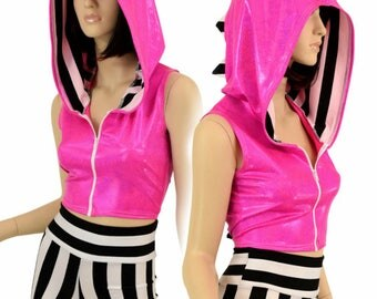 Pink Sparkly Jewel Sleeveless Zipper Front Hoodie with Black and White Spikes and Hood Liner & Black and White High Waist Shorts Set- 155069