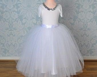 Girls Tutu Skirt, Tutu Skirt, Flower Girl Tutu, Girls Ivory Tutu, White Tutu, Wedding Tulle Skirt, Long Tutu, Bridesmaid Tutu, Baby Tutu