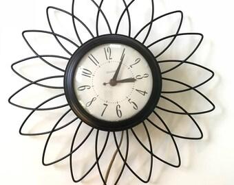 Vintage 1950s 60s Mid Century Modern United Sunburst Starburst Atomic Wall Clock