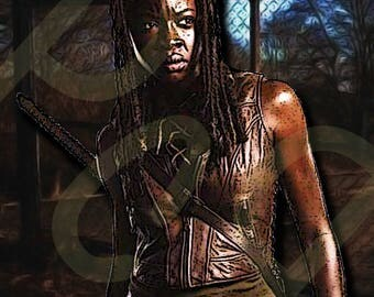 Sticker of AMC's The Walking Dead Michonne (Danai Gurira) Character Poster, Pop Art Digital Painting