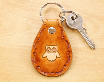 Owl Keyring, Cute Owl Key Fob, Leather Keyring, Owl Lover Gift, Leather Key Chain, Owl Keychain, Owl Accessories, Owls Unique Owl Gift OWB51
