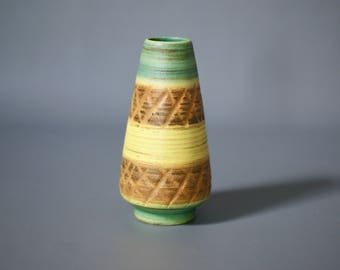 WEST GERMAN POTTERY Vase, Dümler and Breiden, 185 15, D & B, Green and Yellow Vase, Dumler and Breiden Vase, Pastel German Vase