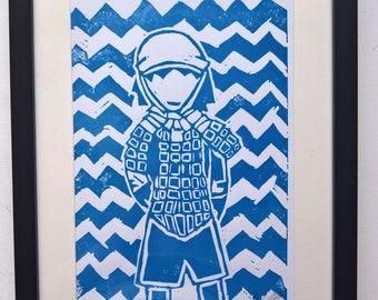 Revolutionary Soldier (Blue) A4 Linocut Print