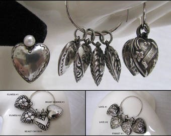 Vintage Sterling Silver Puffy Heart Charms Repousse Victorian Sterling Charms Flowers I Love U Forget Me Not Remembrance 1940's Puff Hearts