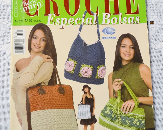 Crochet Magazine Trabalhos em Croche Brazilian Magazine Handbag Tote Purse Charts Pattern Instructions DIY Craft Portuguese PanchosPorch