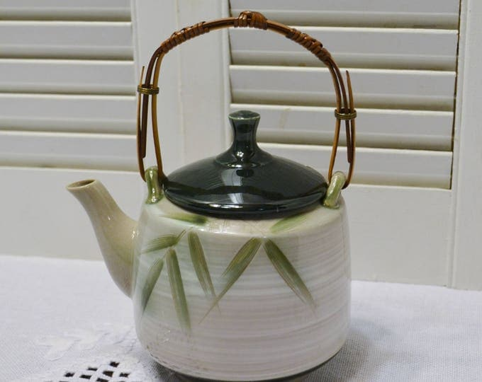 Vintage Teapot Ceramic Pottery Bamboo Pattern Green Gray Asian Theme Nature Inspired Simple Japan Panchosporch