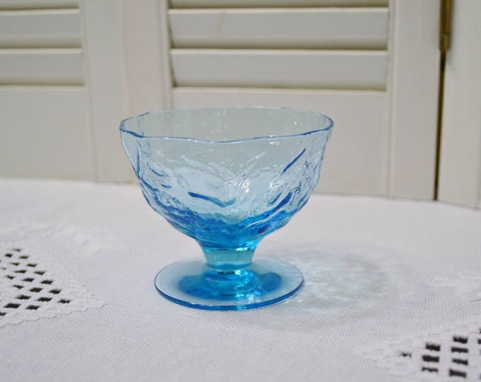 Vintage Peacock Blue Crinkle Glass Sherbet Cup Turquoise Aqua Seneca Driftwood Stemware Glassware PanchosPorch