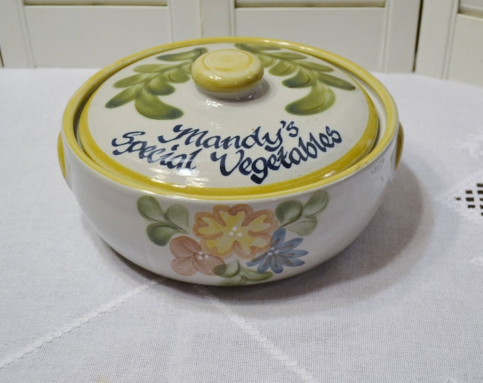 Vintage Louisville Pottery Covered Bowl Casserole Mandys Special Vegetables Floral Pattern PanchosPorch
