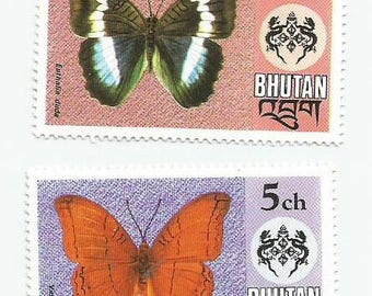 4 Butterfly Mint Postage Stamps from Bhutan