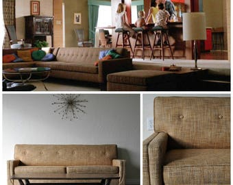 sold sold mid century modern don draper style 76 wool sleeper sofa mid century - Mad Men Sofa
