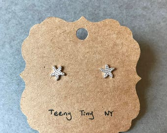 Silver Tiny Mini Starfish Stud Earrings Type B - Sterling Silver