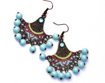 Boho Tribal Earrings Painted Funky Colorful Bohemian Jewelry FREE SHIPPING
