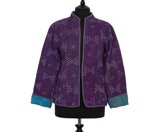 KANTHA JACKET - Medium - Short style - Size 10/12 - Deep Purple. Reverse Turquoise