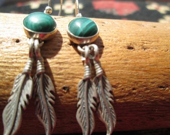 Native American Malachite and Sterling  Dangle Earrings