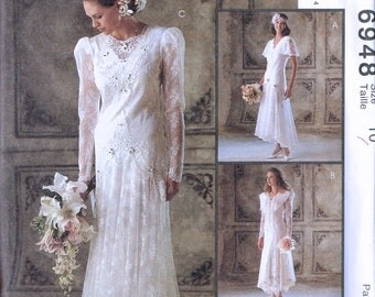 Size 10 Wedding Dress Sewing Pattern - Drop Waist Flapper Style Wedding Dress - Lace Retro Bridal Gown - Alicyn Exclusives - McCalls 6848